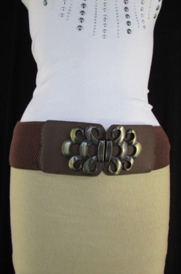 Other Women Brown Black Gray Elastic Fashion Belt Antique Gold Buckle 26-37