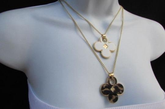 Other Women 11 Classic Fashion Necklace Gold Chain White Leopard Big Flower Image 10
