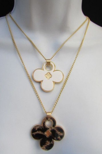 Other Women 11 Classic Fashion Necklace Gold Chain White Leopard Big Flower Image 11