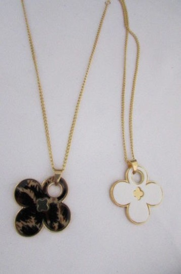 Other Women 11 Classic Fashion Necklace Gold Chain White Leopard Big Flower Image 2