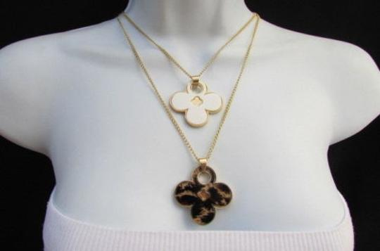 Other Women 11 Classic Fashion Necklace Gold Chain White Leopard Big Flower Image 3