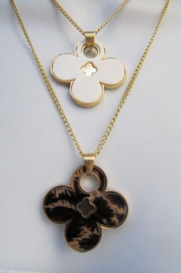 Other Women 11 Classic Fashion Necklace Gold Chain White Leopard Big Flower