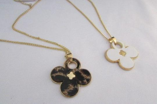 Other Women 11 Classic Fashion Necklace Gold Chain White Leopard Big Flower Image 5