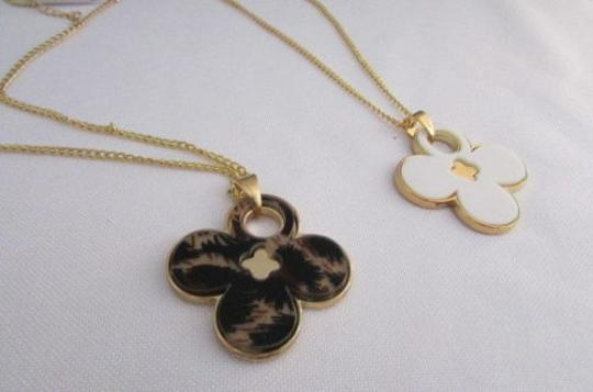 Other Women 11 Classic Fashion Necklace Gold Chain White Leopard Big Flower Image 7