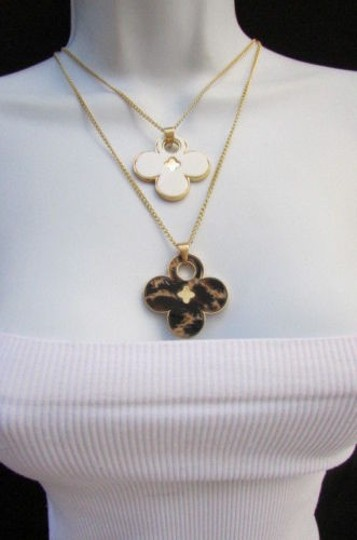 Other Women 11 Classic Fashion Necklace Gold Chain White Leopard Big Flower Image 8