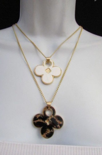 Other Women 11 Classic Fashion Necklace Gold Chain White Leopard Big Flower Image 9