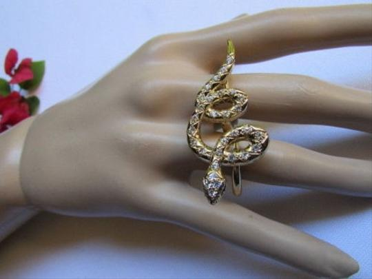 Other Women Long Two Fingers Gold Metal Snake Fashion Wide Ring Silver Rhinestones