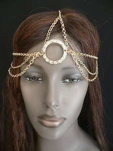 Women Big Gold Ring Metal Head Chain Rhinestones Circlet Fashion Jewelry