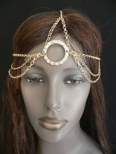 Other Women Big Gold Ring Metal Head Chain Rhinestones Circlet
