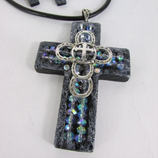 Other Women Necklace Earring Fashion Faith 3d Metallic Black Cross Pendant
