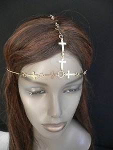 Women Gold Metal Multi Crosses Head Chain Circlet Fashion Jewelry Grecian