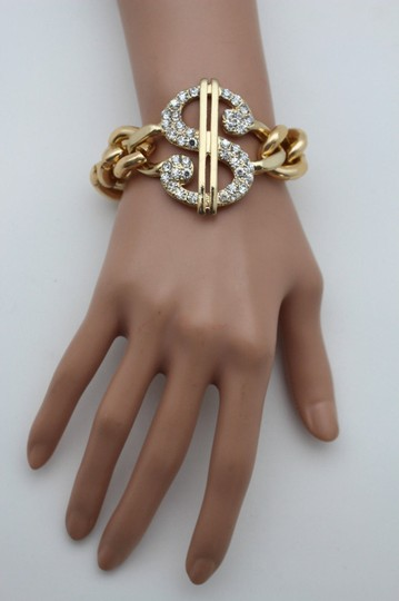 Other Women Silver OR Gold Bracelet Metal Chains Jewelry Dollar Sign Money