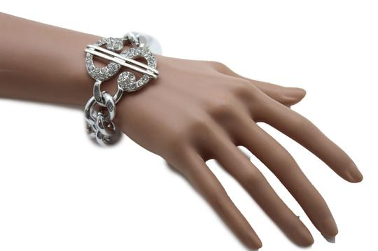 Other Women Silver OR Gold Bracelet Metal Chains Jewelry Dollar Sign Money Image 5