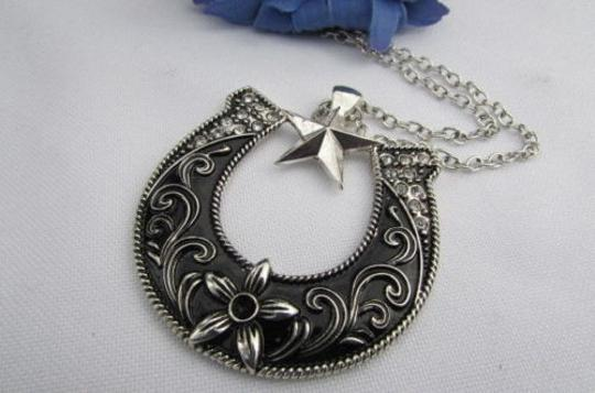 Other Women Western Necklace Silver Chain Horseshoe Texas Star