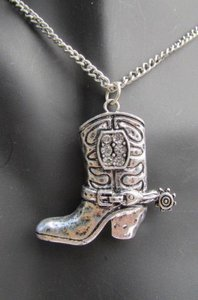 Other Women 18 Long Western Fashion Necklace Rusty Silver Chain Big Cowboy Boots
