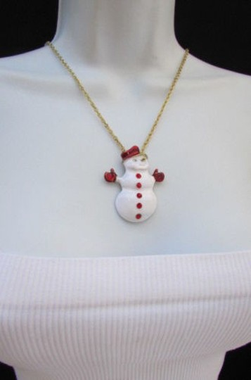 Other Women 14 Drop Long Fashion Necklace Gold Chain Big White Snowman Christmas