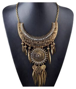 New Boho Antique Copper Gold Tribal Crystal Statement Necklace