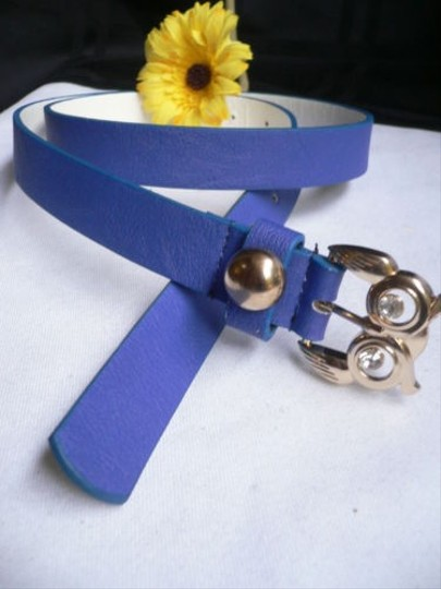 Other Women Faux Leather Thin Real Blue Fashion Belt Gold Owl Buckle 31-38