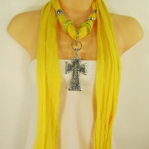 Other Women Scarf Yellow Fabric Fashion Long Necklace Big Silver Pendant Cross Charm