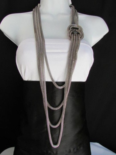 Preload https://img-static.tradesy.com/item/1926283/women-pewter-metal-chains-knot-one-loop-long-fashion-drop-necklace-0-0-540-540.jpg
