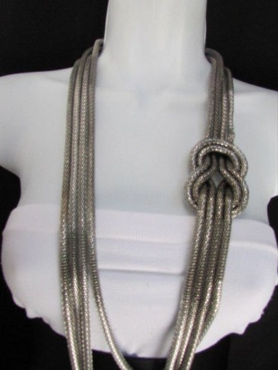 Other Women Pewter Metal Chains Knot One Loop Long Fashion Necklace 19 Drop Image 1