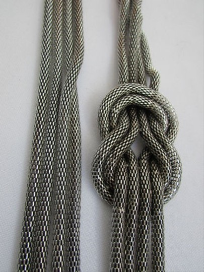 Other Women Pewter Metal Chains Knot One Loop Long Fashion Necklace 19 Drop Image 10