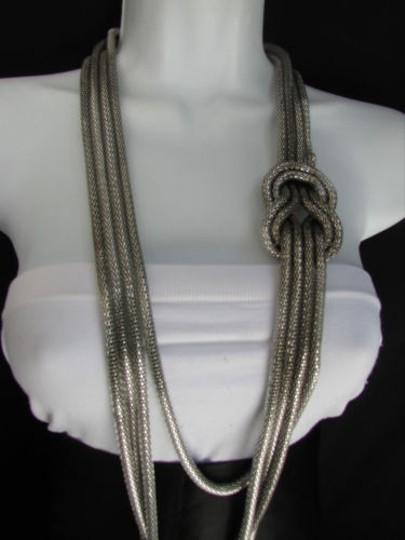Other Women Pewter Metal Chains Knot One Loop Long Fashion Necklace 19 Drop Image 11