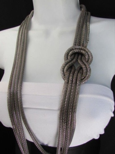 Other Women Pewter Metal Chains Knot One Loop Long Fashion Necklace 19 Drop Image 2