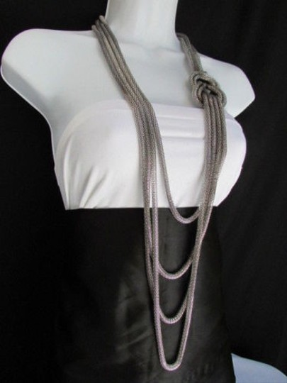 Other Women Pewter Metal Chains Knot One Loop Long Fashion Necklace 19 Drop Image 3