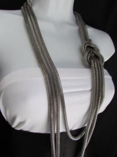 Other Women Pewter Metal Chains Knot One Loop Long Fashion Necklace 19 Drop Image 5