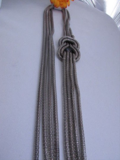 Other Women Pewter Metal Chains Knot One Loop Long Fashion Necklace 19 Drop Image 6