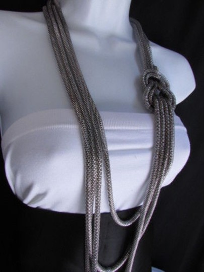 Other Women Pewter Metal Chains Knot One Loop Long Fashion Necklace 19 Drop Image 7