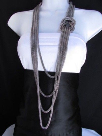 Other Women Pewter Metal Chains Knot One Loop Long Fashion Necklace 19 Drop Image 8
