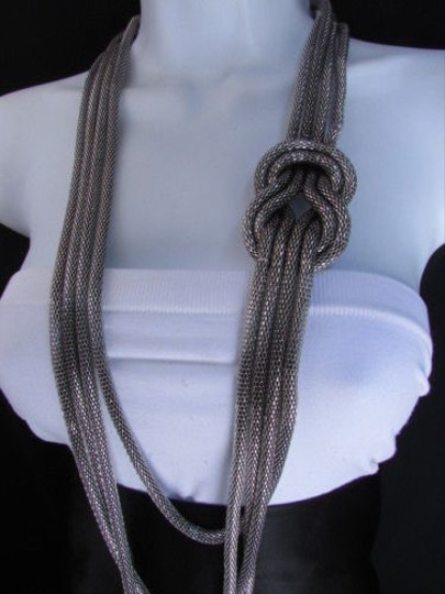 Other Women Pewter Metal Chains Knot One Loop Long Fashion Necklace 19 Drop Image 9