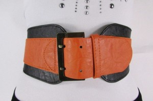 Other Women Black Orange Western Faux Leather Elastic Wide Fashion Belt 27-36
