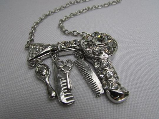 Other Women Silver Scissors Mirror Air Blower Hair Dressers Necklace 9 Drop Image 3