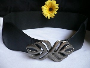 Women Summer Black Fashion Elastic Wide Belt Pewter Leaf Buckle
