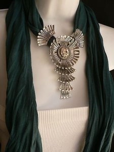 Women Teal Green Fashion Scarf Necklace Angel Wings Pendant Elegant Rhinestones