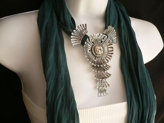 Other Women Teal Green Scarf Necklace Angel Wings Elegant Rhinestones