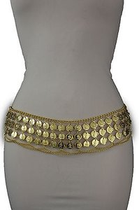 Women Shinny Gold Wide Fashion Boho Metal Chains Dancing Coin Belt