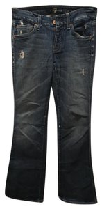 7 For All Mankind A Pocket Worn Boot Cut Jeans-Distressed