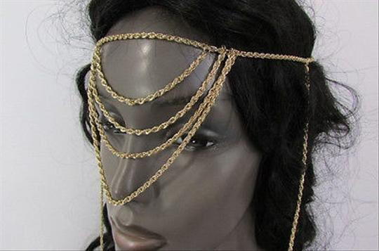 Other Women Front Forehead Back Fashion Gold Metal Head Chain Jewelry Extra Long