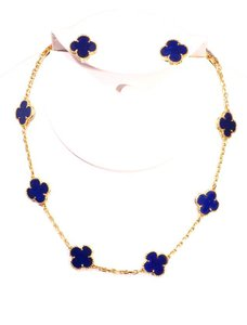 Van Cleef & Arpels Van Cleef & Arpels Alhambra Necklace & Earrings Lapis