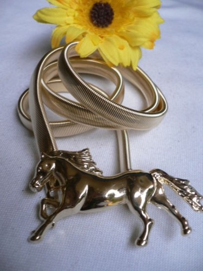 Other Women Elastic Narrow Metal Thin Belt Gold Horse Buckle 27-40