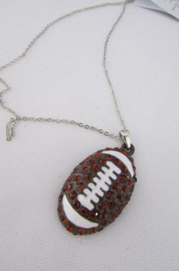 Other Women 10 Drop Long Fashion Necklace Silver Chain Big Football Ball Pendant