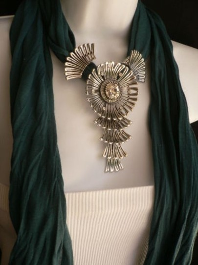 Preload https://img-static.tradesy.com/item/1926317/women-green-blue-teal-fashion-scarf-necklace-angel-wings-pendant-rhinestone-0-0-540-540.jpg