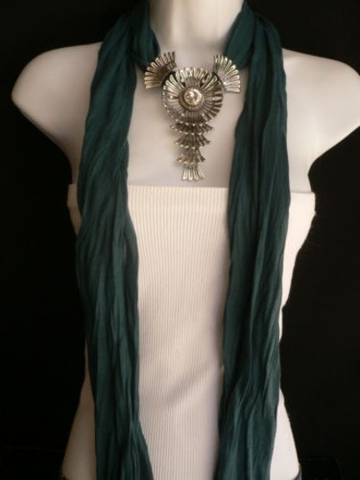 Other Women Green Blue Teal Fashion Scarf Necklace Angel Wings Pendant Rhinestone Image 11