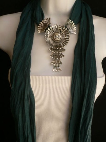 Other Women Green Blue Teal Fashion Scarf Necklace Angel Wings Pendant Rhinestone Image 2