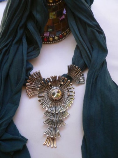 Other Women Green Blue Teal Fashion Scarf Necklace Angel Wings Pendant Rhinestone Image 4