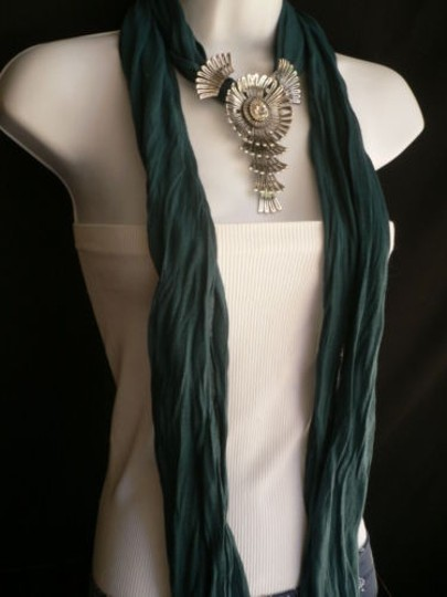 Other Women Green Blue Teal Fashion Scarf Necklace Angel Wings Pendant Rhinestone Image 5